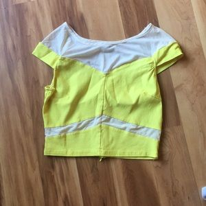 Bright yellow thin denim crop top